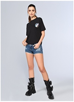 Ecko Unltd Ecko Unlimited Kadın Bisiklet Yaka Siyah T-Shirt